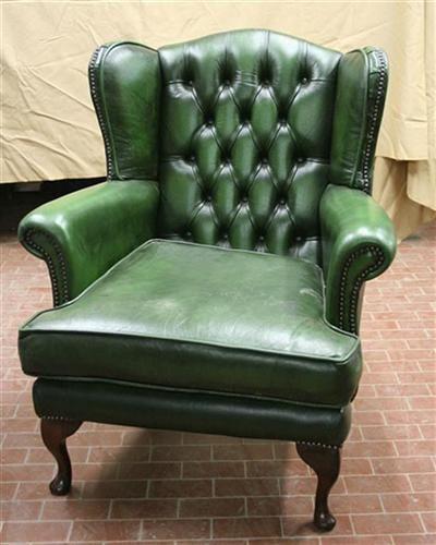 divani e poltrone poltrona da lettura vintage in pelle verde
