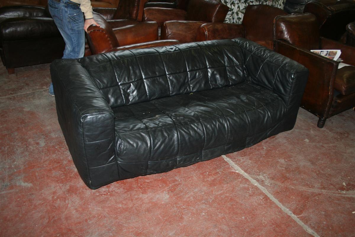 Divani e poltrone divano club in pelle nera - Divano pelle nera ...