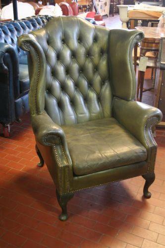 Divani e poltrone poltrona da lettura inglese in pelle verde for Poltrone vintage pelle