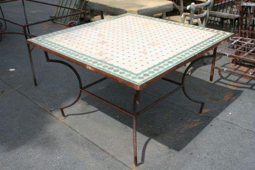 Tavoli da giardino: Tavolo in mosaico quadrato verde
